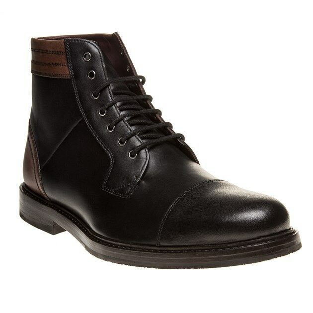 New Mens Ted Baker Black Musken Leather Boots Lace Up