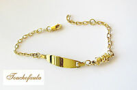 14k Yellow Gold Baby Id Bracelet With An Attached Teddy Bear Made In Italy
