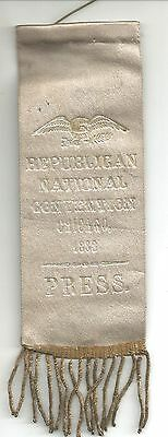 Republican National Convention 1888  Chicago, IL  Press ribbon -> RARE