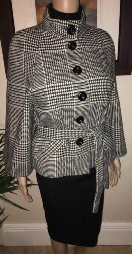 Belt Jacket Short Dogtooth W Black 10 White Bandolera Uk ~ Aqwv00R