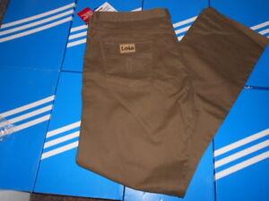 LOIS-MENS-KHAKI-BROWN-JEANS-CANVAS-46-waist-34-leg-NEW-CASUALS-cp-y3-si-firm-80s