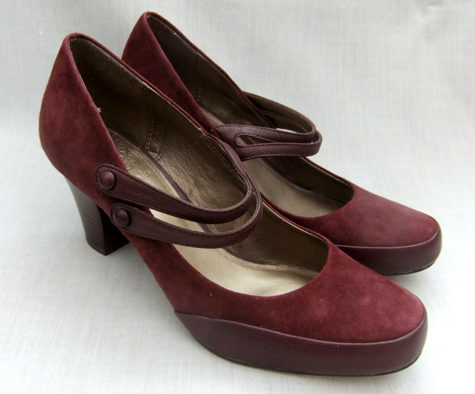 New Clarks Alpine or Femme Bordeaux Daim Chaussures
