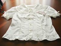 Bodyline Sweet Lolita Off-white Short Sleeve Triple Ribbon Blouse Size 2l