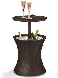 Rattan Style Cool Outdoor Patio Pool Ice Cooler Cocktail bbq Party Table, Brown