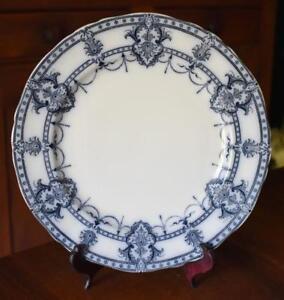 LOVELY-ADDERLEY-039-S-LTD-ANTIQUE-ENGLISH-FLOW-BLUE-LAURIER-DINNER-PLATE