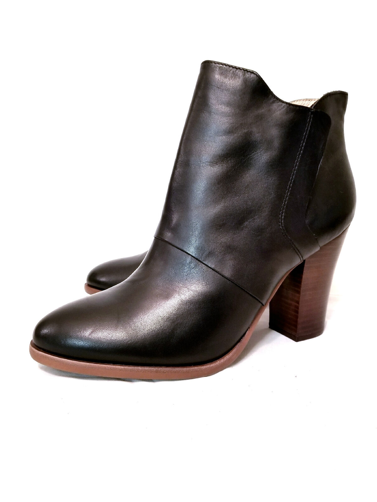 Halogen Women's Black Leather Ankle Boot Size 11 Retail $ 130