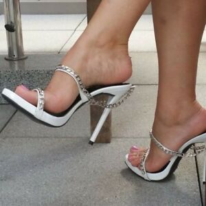 women peep toe high heels mules chain decor stilettos