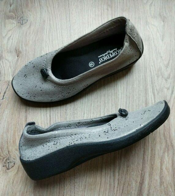 Arcopedico L14 Ballet Flats EU 39 Womens 8 8.5 Comfort Shoes Grey Slip On Queen