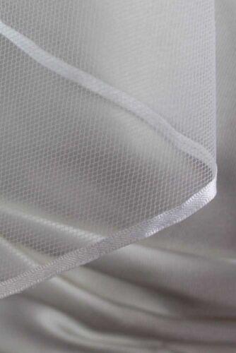 Bridal Wedding Veil White 2 Tiers Fingertip Length  1//8in Satin Ribbon Edge