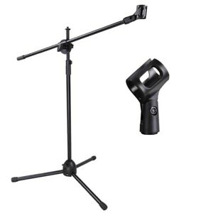 Telescoping-Microphone-Stand-Mic-Clip-90-degree-Stage-Studio-Holder-Tripod