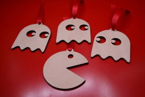 4 x Pacman Xmas Tree Decoration Dec Plywood Ghost Pac Man