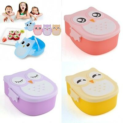 Cute Owl Kids Bento Lunch Box Food Container Safe Plastic Container Portable New