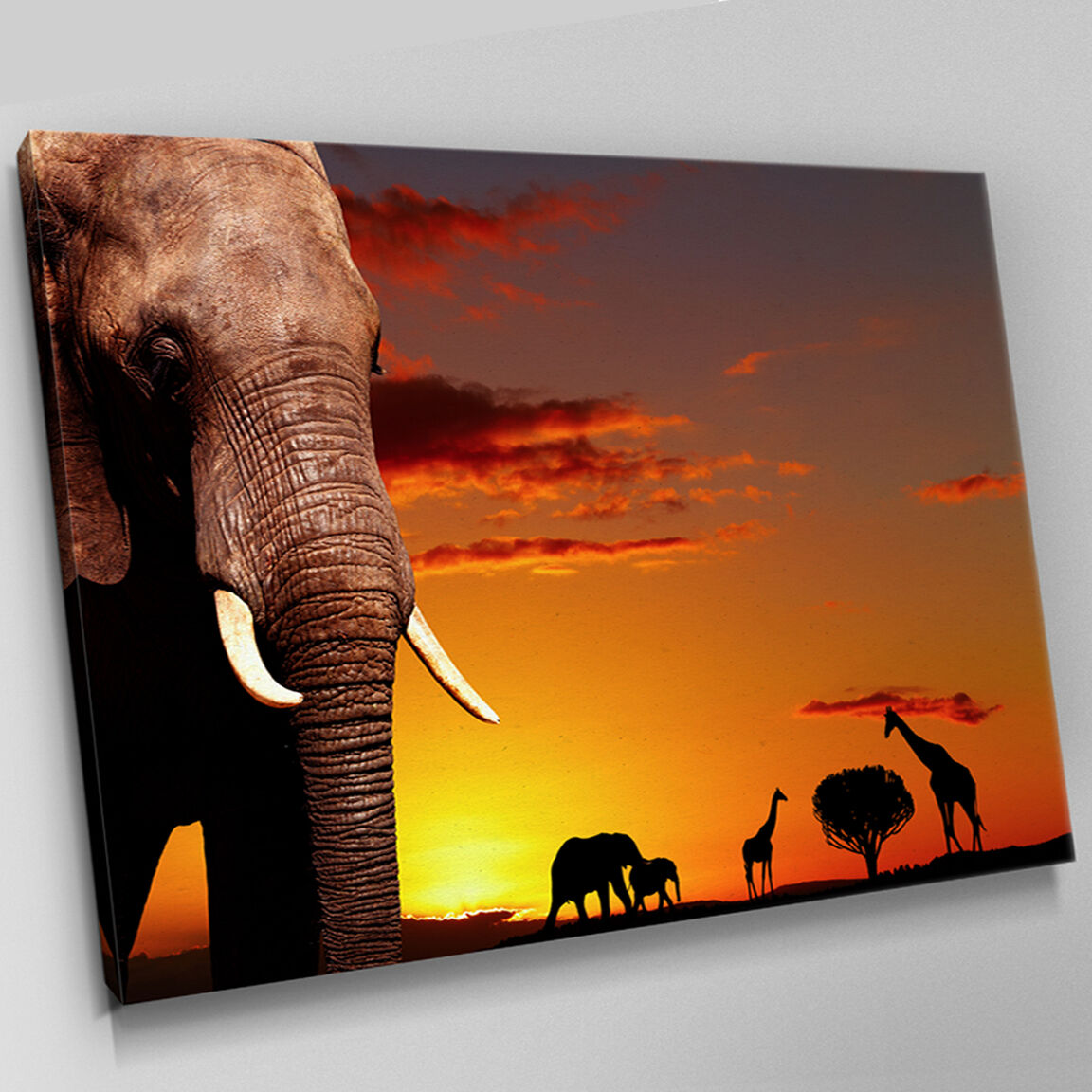 A303 African Sunset Animal Silhouette Canvas Wall Art Animal Picture Large Print