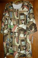 Dog library Print Button Front Smock Coat,size Xl, By Susan Mcduffie, Usa,