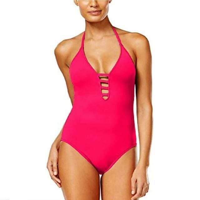 4de3b3b99f285 La Blanca Strappy Plunge Tummy-Control Swimsuit $119 Size 10 # U11B 156 NEW