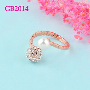 Fashion Pearl Crystal Ball Adjustable Open Rings For Women