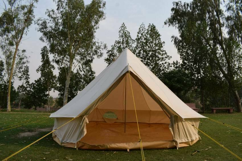 5M ZIG Canvas Bell tent  5 Meter 500-Ultimate Zipped-in-Groundsheet PVC 540GSM  first time reply