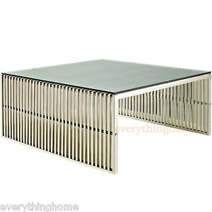 Stainless-Steel-Ribbed-Beam-Slotted-Tubular-Slat-Grid-Coffee-Table-Glass-Top