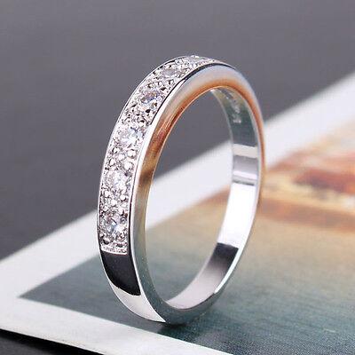 Vintage style  white sapphire 18k white gold filled Luxury band ring Sz5-Sz9