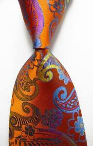 New-Classic-Paisley-Gold-Yellow-Blue-JACQUARD-WOVEN-100-Silk-Men-039-s-Tie-Necktie