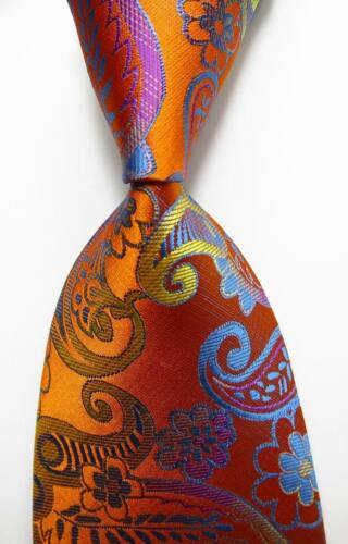 New Classic Paisley Gold Yellow Blue JACQUARD WOVEN 100/% Silk Men/'s Tie Necktie