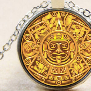 Ancient mayan maya aztec symbols calendar silver pendant necklace image is loading ancient mayan maya aztec symbols calendar silver pendant aloadofball Image collections