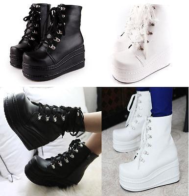 Punk Women's High Platform Flat Boots Lace up Goth Combat Military Boots Shoes
