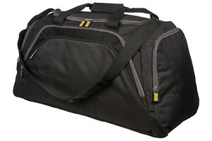 Mens-Large-Sports-amp-Gym-Duffle-Holdall-Bag-TRAVEL-SPORT-WORK-BLACK-amp-GREY-26