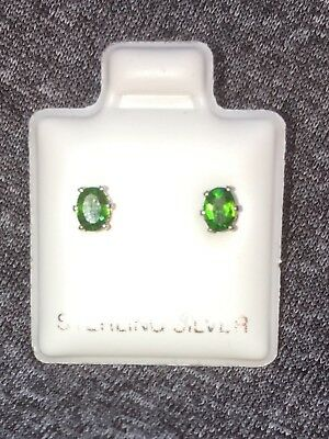 Gemstone Fine Earrings Flight Tracker New .33 Tcw Aaa Neon Green Chrome Diopside 3x4x2mm 925 Silver Earrings