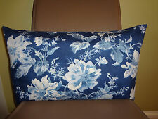 Designer Pillow Cover Ralph Lauren Fabric Spectacular Blue Jeans Floral 11x22""