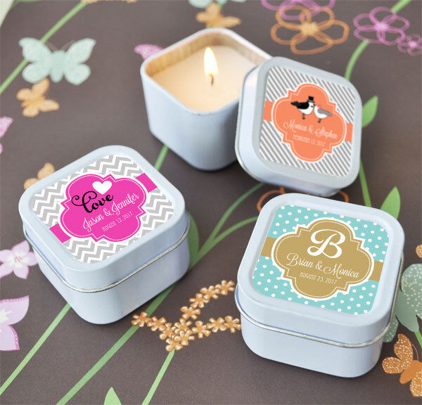 96 Personalized Square Tin Wedding Theme Candles Wedding Bridal Shower Favors