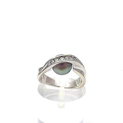 14k White Gold South Sea Black Pearl Diamond Modernist Ring Sz 4