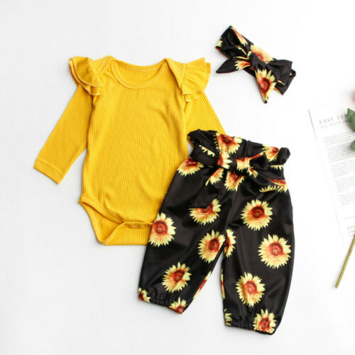 Newborn Infant Baby Girl Romper Tops Sunflower Floral Pants Headband Outfits Set