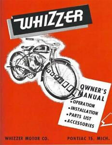 antique bicycle WHIZZER 300 series motor Owners Manual REPRINT brochure catalog