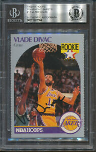 1990-91 Hoops Team Night Sheets #13 Vlade Divac Beckett Authentic Signed *2384