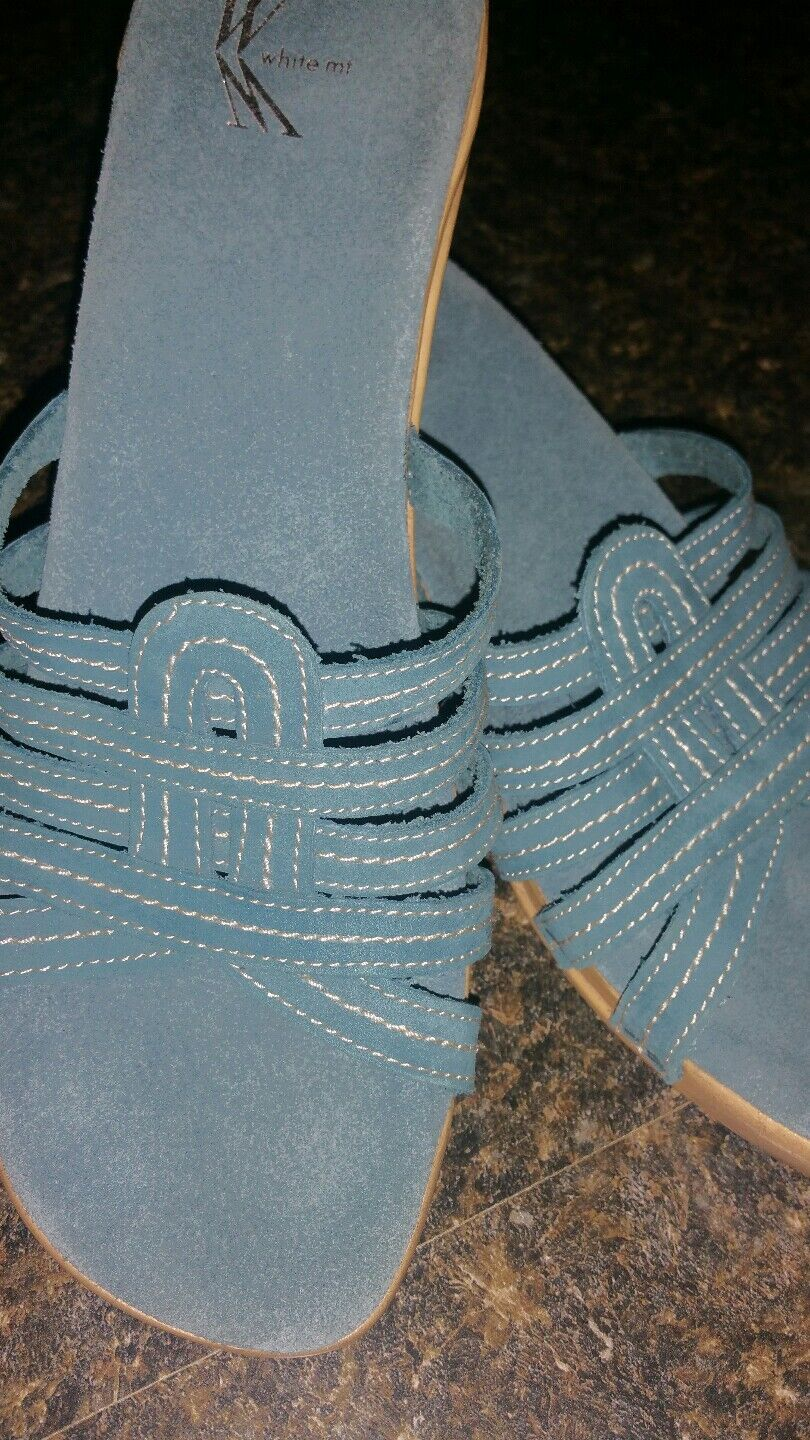 White Mountain heeled blue suede strappy slide heeled Mountain sandals sz 9m 0d1d37