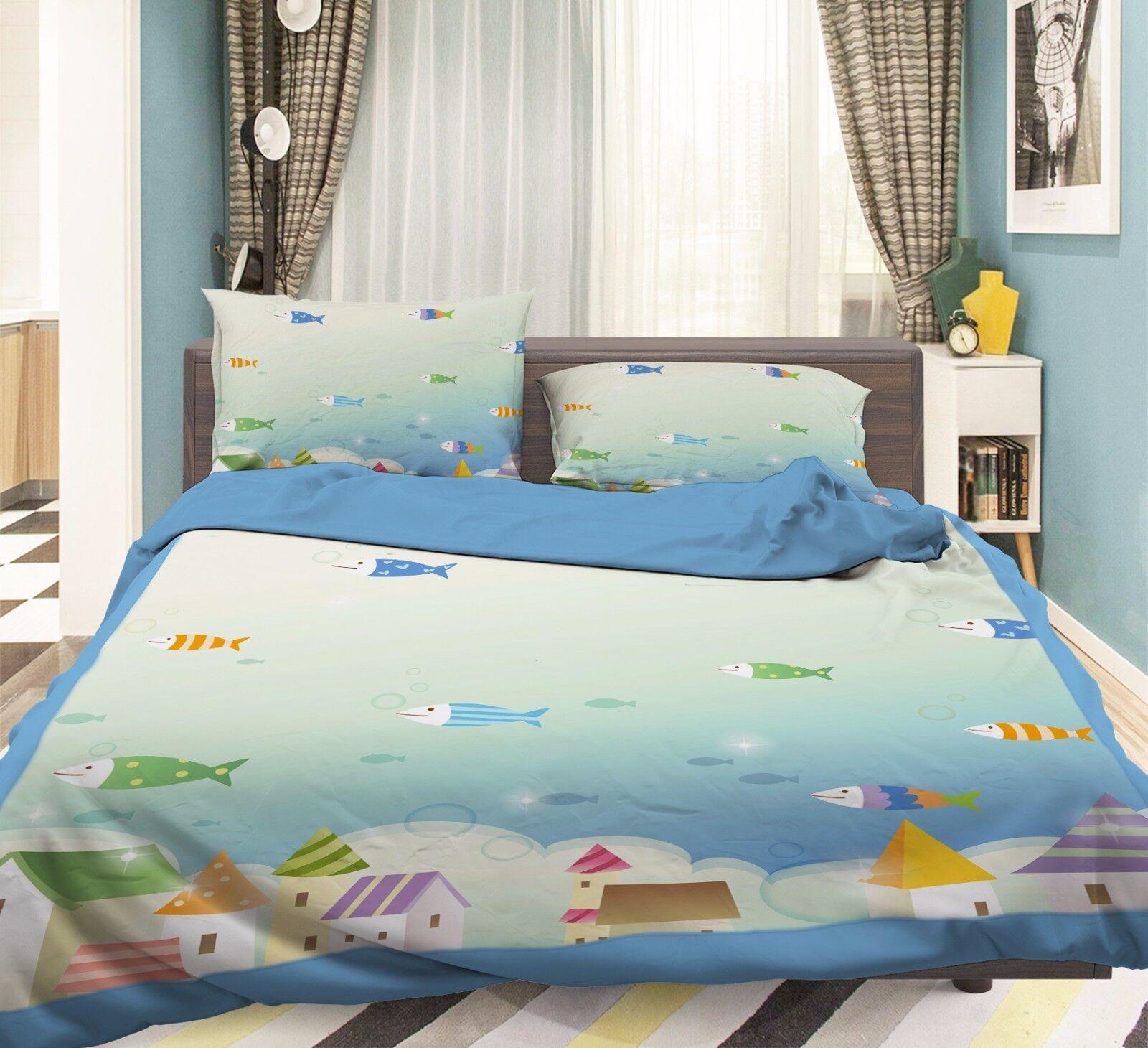3D House Paint 906 Bed Pillowcases Quilt Duvet Cover Set Single Queen UK Summer