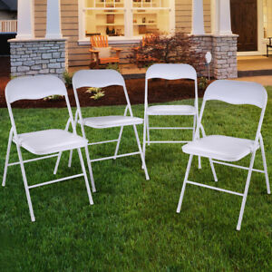 Outstanding Details About New 4Pcs Commercial White Plastic Folding Chairs Stack Able Wedding Party Chair Evergreenethics Interior Chair Design Evergreenethicsorg