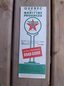 VINTAGE-MAP-QUEBEC-MARITIME-PROVINCE-TEXACO-GAS-SERVICE-STATION-ADVERTISING-1953