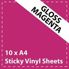 10 x A4 Gloss Magenta Sticky Vinyl Sheets - Craft Robo, CriCut & Crafts