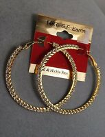 14 K Gf Large Hoop Earrings Crystal Rhinestone//