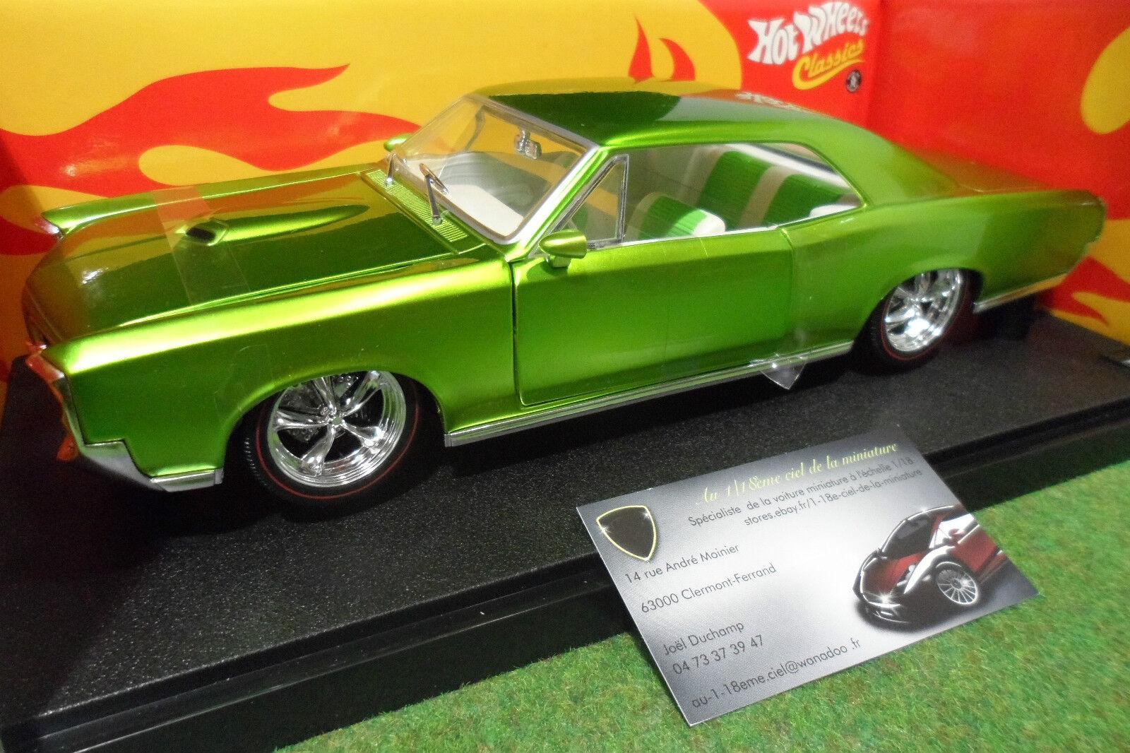 PONTIAC GTO de 1966 verde à l'échelle 1 18 HOT WHEELS J2888 voiture miniature