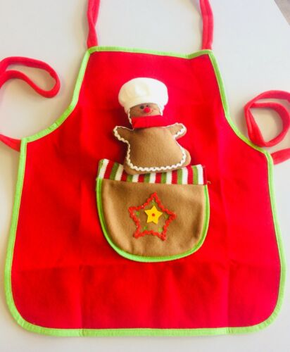 Novelty kids apron Gingerbread Man felt pinny childrens Christmas festive