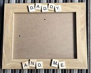 Wooden Scrabble Photo Frame Daddy Mummy Nana And Me Fathers Day