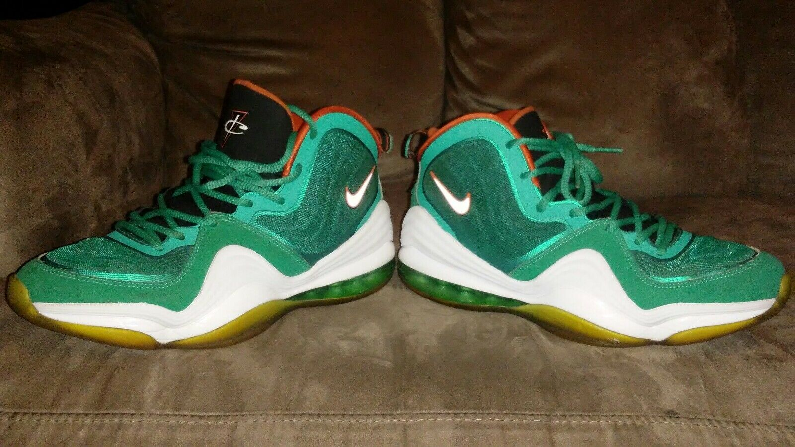 Cheap and beautiful fashion Nike Air Max PENNY V 5 MIAMI DOLPHINS TEAL GREEN WHITE ORANGE 537331-300 Price reduction