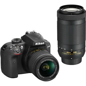 Nikon D3400 DSLR with 18-55mm & 70-300mm Lenses (Black)
