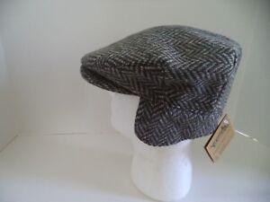 hanna Hats Irish tweed cap green grey ear neck flap Donegal Ireland ... 64479e7db7d6