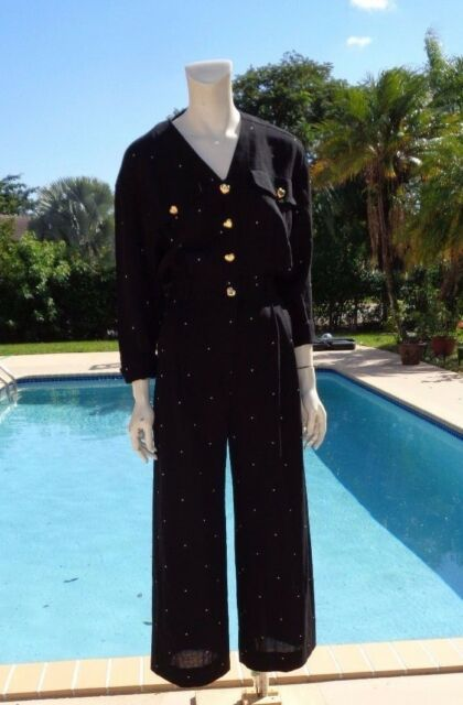 fb5b70b584b VINTAGE ESCADA BLACK POLKA DOTS HEARTS BUTTONS DETAIL WIDE LEG JUMPSUIT GR  Sz 34