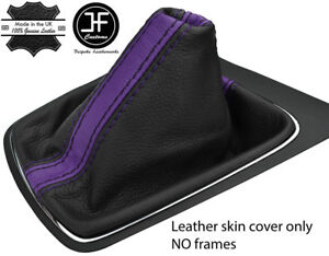 Analytique Black & Purple Stripe Top Grain Leather Gear Gaiter Pour Seat Leon Mk3 12-17-afficher Le Titre D'origine Brillant En Couleur