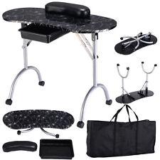 Black Manicure Nail Table Portable Station Desk Spa Beauty Salon Equipment New